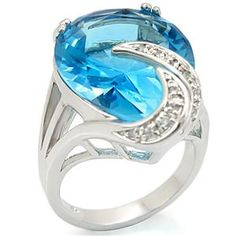 Big Pear Cut Simulated Aquamarine Cubic Zirconia Cocktail Ring, $28.49.