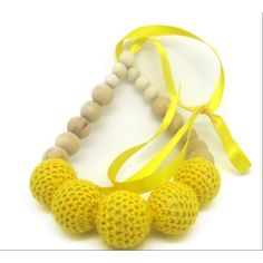 Buy Love Crochet Art Necklace with wooden bead Nursing Teething Necklace Handmade - Yellow by Love Crochet Art, on Paytm, Price: Rs.299