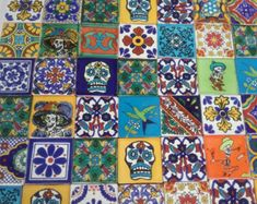 MEXICAN TALAVERA TILES X 50 ( 5cm x 5cm each ) ( set A )