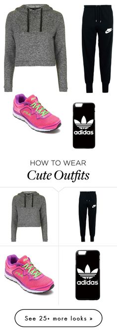 """Cute Work Out Outfit"" by lsantana13 on Polyvore featuring Topshop, NIKE, adidas and Fila"