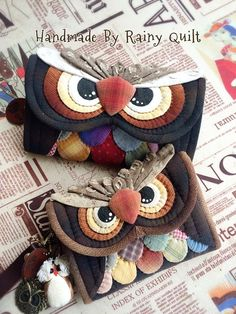 Patchwork Bags, Quilted Bag, Patchwork Quilting, Fabric Crafts, Sewing Crafts, Sewing Projects, Fabric Bags, Felt Fabric, Owl Sewing