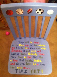 Time out chair boy Arts And Crafts Storage, Craft Storage, Toddler And Baby Room, Time Out Chair, Crafts For Kids, Diy Crafts, Cool Items, Second Child, Kids Furniture