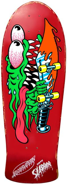 Odd shape for a deck on this design. Then again, Santa Cruz has The Simpsons decks with irregular shapes. Anything is possible. [SLASHER DECK ART by Jim Phillips, 1986]
