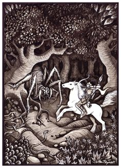 I really love Ulla Thynell's whimsical, and charming style - her view of MiddleEarth is endearing! § Orome, Tamer of Beasts by ullakko.deviantart.com on @deviantART