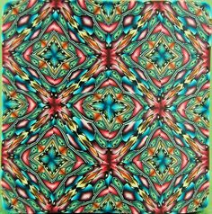 LARGE Polymer Clay Kaleidoscope Square Cane - 'Grand Adventure' series Ikandiclay