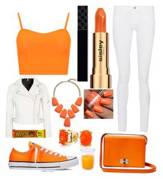 """Orange pop x"" by disneyprincessgeek ❤ liked on Polyvore featuring Converse, WearAll, Frame Denim, Sisley, Topshop, Kendra Scott, Diane Von Furstenberg, Gucci and Bling Jewelry"