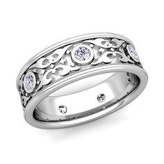 Celtic Wedding Band for Men in 14k Gold Bezel Set Diamond Ring, 7.5mm. This stunning Celtic wedding ring for men features round shape diamonds bezel set gorgeously on the 14k gold carved Celtic knot band.