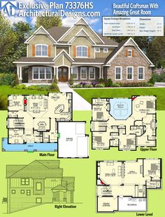 We created Architectural Designs Exclusive House Plan 73376HS after receiving numerous requests for a side-load garage version of best-selling house plan 73330HS. They share the same amazing 2-story great room with views to the back. Ready when you are. Where do YOU want to build?