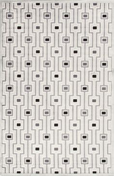 Modern Geometric Pattern Gray /Black Viscose/Chenille Rug - FB14, 9x12 - modern - Area Rugs - Indeed Decor