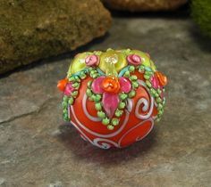 Gorgeous, chunky Bollywood focal glass bead by Amy :)