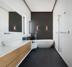 Luxury Master Bathroom Ideas is categorically important for your home. Whether you choose the Small Bathroom Decorating Ideas or Dream Master Bathroom Luxury, you will make the best Luxury Bathroom Master Baths Wet Rooms for your own life. Charcoal Bathroom, Wood Bathroom, Bathroom Renos, Bathroom Flooring, Bathroom Renovations, Dark Floor Bathroom, Bathroom Ideas, Bathroom Black, Bathroom Feature Wall