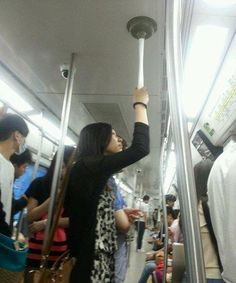 One way to avoid the germs... Bring a Toilet Plunger with You on the Subway