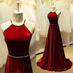 Elegant Burgundy Prom Dresses Beaded Halter Neck Long