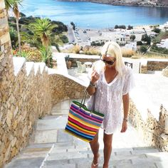 """""""The lovely @annamavridis with our new multi stripe  #santorini #style """""""