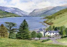 Tall-y-Llyn. A watercolour by Sylvia Twiss Art Studios, All Design, Studio Art, Watercolor, Ink, Landscape, Gallery, Wales, Prints