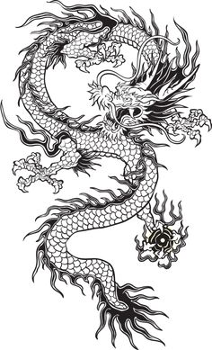 Illustration about Traditional Asian Dragon. This is vector illustration ideal for a mascot and tattoo or T-shirt graphic. Illustration of dragon, black, ethnicity - 33671675 Dragon Tattoo For Women, Japanese Dragon Tattoos, Dragon Tattoo Designs, Dragon Tattoo Hip, Chinese Tattoos, Dragon Illustration, Tattoo Illustration, Chinese Clipart, Chinese Dragon Drawing