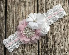 Lace floral headband lace headband vintage headband white lace headband light pink headband flower girl pink and white headband ***other colors available*** please ask for availability This beautiful white and light pink headband features three different Flower Girl Headbands, Vintage Headbands, Floral Headbands, Newborn Headbands, White Headband, Feather Headband, Diy Headband, Baby Tiara, Barrettes