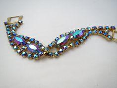 50's Aurora Borealis Rhinestone Bracelet  by ERAtiqueJewels, $32.00