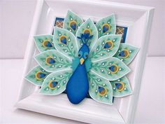 handmade Peacock Picture Frame by Martha Inchley ... this would be an amazing card ... stamped and die cut pieces  from Stampin'Up! Flower Patch Bundle ... luv the creativity!