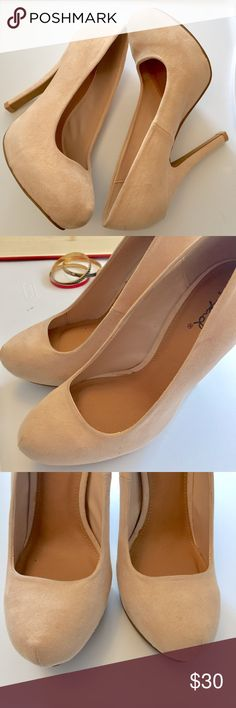 """Qupid • Blonde Ambition Heels Adorable nude suede platform pumps from Qupid. Perfect for a night on the town with the girls 💕 5"""" heel height. Like new! Qupid Shoes Heels"""