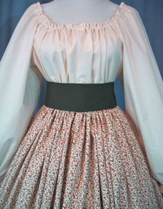 Long Skirt for Costume - Pioneer SASS - Civil War Reenactment - SpicyPeach Floral Cotton Print - Handmade