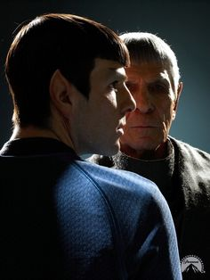 In the name of all things geeky and amazing... Leonard Nimoy and Zachary Quinto. Two actors, one amazing character.