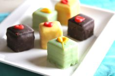 Petit Fours are a delightful addition to any holiday gathering, and are so simple to change up to suit the season.  Try chocolate with raspberry, lemon, blueberry, vanilla, or peach filling…the possibilities are endless!