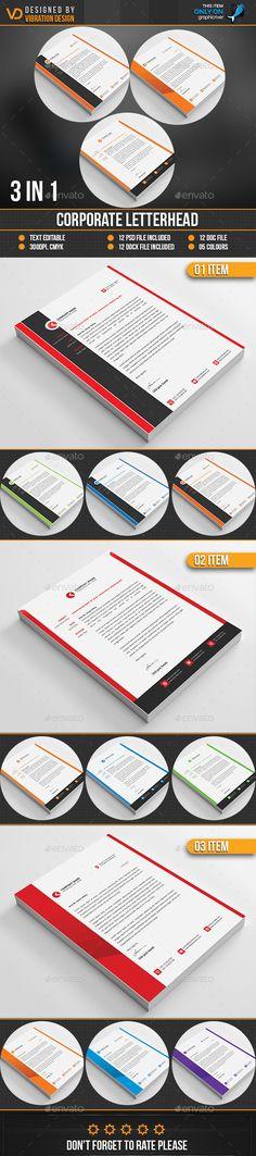 Corporate Letterhead Template Bundle - PSD, MS Word