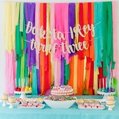 Color Factory Rainbow Party Fringe backdrop for dessert table. Rainbow Parties, Rainbow Birthday Party, Rainbow Theme, Rainbow Colors, Cake Rainbow, Rainbow Fruit, Rainbow Desserts, Cake Birthday, Streamer Backdrop