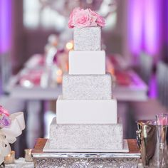 Glam Square Wedding Cake with Silver Glitter // Carla Gates Photography //  Cake: Couture Cakes Inc. // http://www.theknot.com/weddings/album/144351