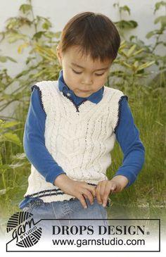 Chaleco DROPS, de punto, con cuello-V y torsadas en la pieza del frente, en BabyAlpaca Silk. Talla: 3 – 12 años. Patrón gratuito de DROPS Design.