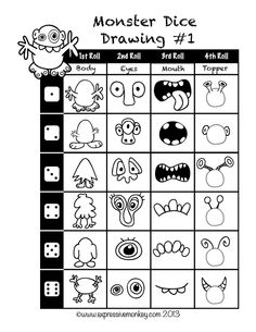 Early Finishers: Guided drawing ideas for drawing a monster by the roll of a die! Drawing Games, Drawing For Kids, Art For Kids, Drawing Ideas, Drawing Art, Art Sub Plans, Art Handouts, Directed Drawing, Monster Drawing