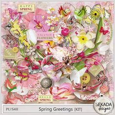 $2.00 Digital Art :: Kits :: Spring Greetings - Full Kit