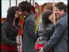 John Barrowman as Captain Jack Harkness and Eve Myles as Gwen Cooper in Torchwood having fun on set (: