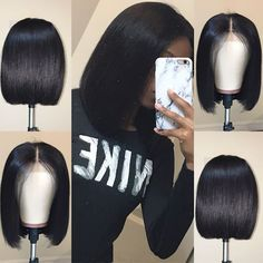 Short Bob Wigs Lace Front Human Hair Wig For Black Women Pre Plucked Hairline With Baby Hair Brazilian Remy Hair Bob Cut Wigs, Short Bob Wigs, Short Bob Hairstyles, Prom Hairstyles, Weave Hairstyles, Black Hairstyles, Short Haircuts, Wig Bob, Gorgeous Hairstyles