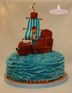 Jake and the Neverland Pirates :)  - Happy Birthday Jaxson!!! Jake is made out of MMF Bucky the ship is made out of RKT and covered with MMF, hand painted :) Everything is edible except the flag pole (skewers)  TFL <3  By Stephlpy8 on cakecentral.com