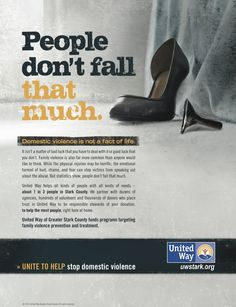"""United Way """"People Don't Fall That Much"""" Print Ad Print Advertising, Print Ads, United Way, Domestic Violence, The Unit, Fall, Boots, People, Autumn"""
