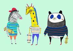 Kids Art. illustration print Skateboard art by AshleyPercival illustration, illustrator, print, art, wall, animals, decor, kids, children, room,