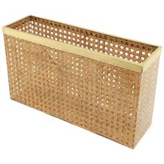 Mid-Century Modern Dior Crespi Style Lucite Wicker and Brass Magazine Rack For Sale at Modern Magazine Racks, Magazine Stand, Rattan, Wicker, Bamboo Panels, Bamboo Structure, Wine Bottle Rack, Kitchen Pulls, Shabby Chic Kitchen