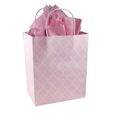 Baby Girl Pink and White Quatrefoil Pattern - Gender Reveal Baby Shower - Kraft Gift Bag (Set of 8) >>> To view further, visit now : Wrapping Ideas
