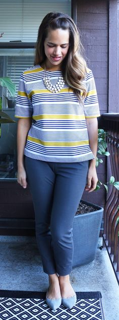 a333fd21d51 Jules in Flats September Outfit - Old Navy Boxy Stripe Top
