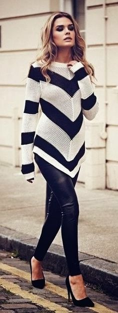 Black & White Sweater with Black High-Heeled Shoes and Black Trousers