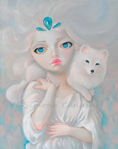 Snow Queen Simona Candini SIGNED PRINT Fairy Fantasy Big Eyes Art Arctic Fox Faery by SimonaCandini on Etsy https://www.etsy.com/ca/listing/118932939/snow-queen-simona-candini-signed-print