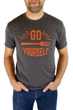 Love the Go Fork Yourself podcast? We thought so, and now you can shout it to the world without saying a thing. This super-soft cotton shirt (made in 'merica, yo!) is available in a brown with orange