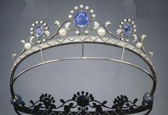 Sapphire, pearl and diamond tiara