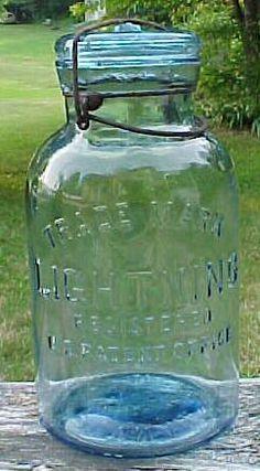 1920's Cornflower Blue Half Gallon Fruit Jar