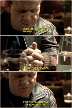 Gordon Ramsay saying his prayer