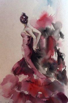 Flamenco dancer, watercolor painting