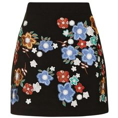 Women's Topshop 'Star Flower' Embroidered Miniskirt found on Polyvore featuring skirts, mini skirts, multi color skirt, short skirts, short mini skirts, multicolor skirt and multi colored skirt