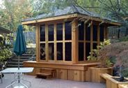 A Gazebo with an enclosed hot tub for your back yard.